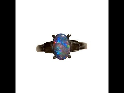 Black Opal Ring 925 Silver| FlashOpal