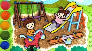 Coloring Playground with Foam clay for Kids, Children | slide, swings, seesaw, rocking horse, sand