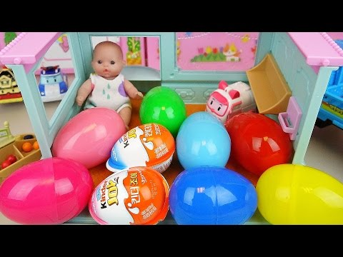 Thumbnail: Baby doll house Surprise eggs and Kinder joy with truck car toys play