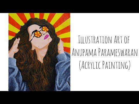 Illustration Art of Anupama Parameswaran (Acrylic Painting)