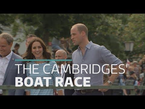 Duke and Duchess of Cambridge in boat race battle