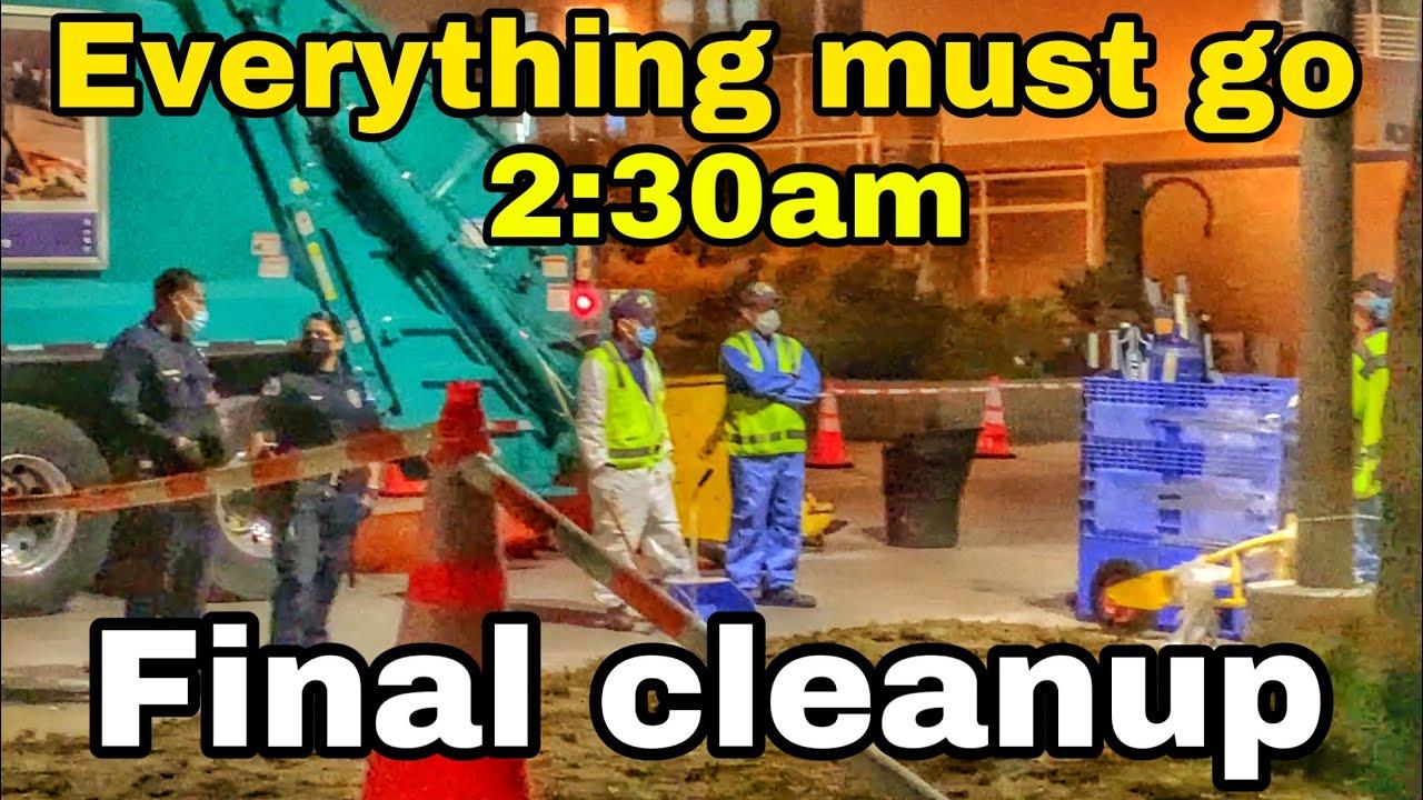 Final Homeless encampment clean up everything must go 2:30am venice beach