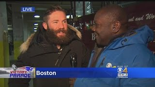 patriots super bowl parade levan reid catches julian edelman pre parade