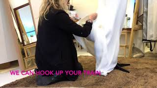 How to bustle a wedding dress train - YouTube