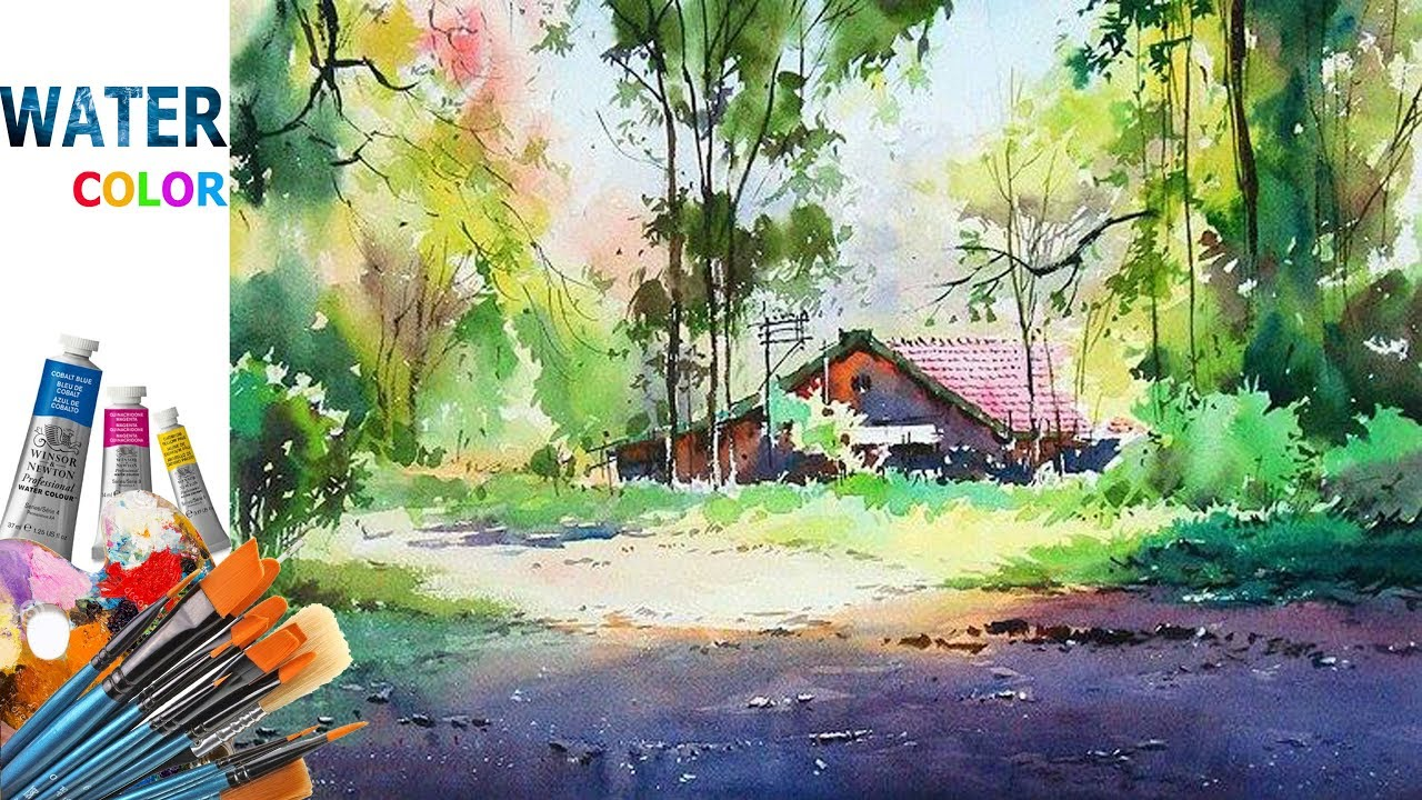 watercolor landscape painting for beginners tutorial - YouTube