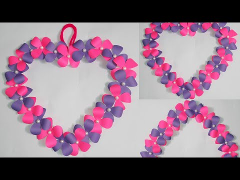 Diy Origami Flower Craft | Paper Flowers Wall Craft Idea | Easy Origami Heart | Handmade origami