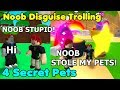 Noob Disguise Trolling With 4 Secret Pets! Noob Thief? - Bubble Gum Simulator Roblox