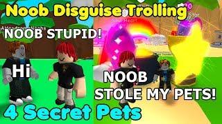 Noob Disguise Trolling With 4 Secret Pets! Noob Thief? - Bubble Gum Simulator Roblox