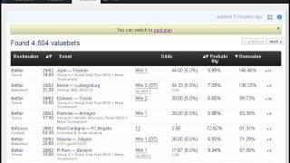 Valuebet finder for arbitrage betting