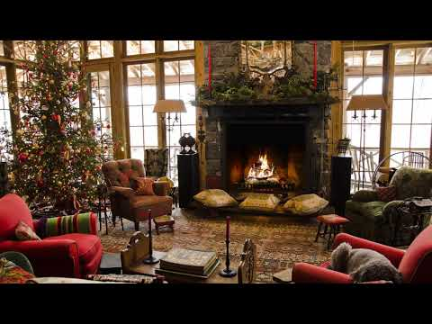 Instrumental Christmas Music with a Fireplace and Beautiful Background (Non-Copyright) (1 hour) 2017