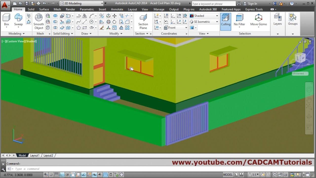 Autocad 3d House Modeling Tutorial Beginner Basic 5
