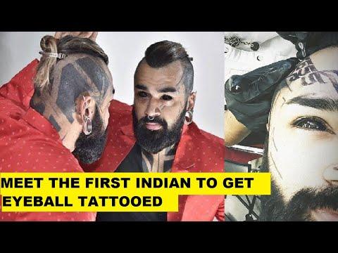 First Indian Gets Eyeballs Tattooed