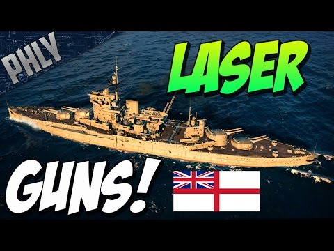 Most Accurate Guns In the GAME! WARSPITE LASER GUN (World Of Warships Gameplay)