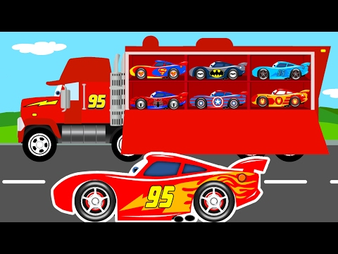 COLOR MCQUEEN CARS Transportation & Mack Truck Cartoon for Kids w Colors for Children Learn Numbers