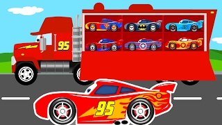 color mcqueen cars transportation mack truck cartoon for kids w colors for children learn numbers