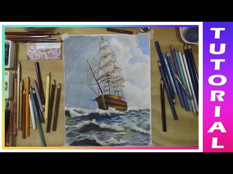 Como dibujar barco velero ⛵ con Lápices Prismacolor premier 🎨