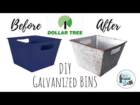 DIY Galvanized Locker Bins | Faux Painting | Dollar Tree Bin Makeover