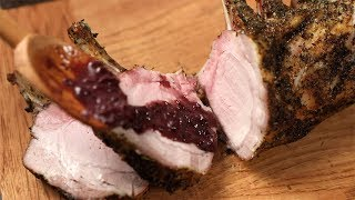 Herb-Crusted Pork Rib Roast with Red Wine Sauce