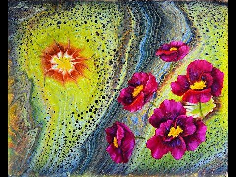 Дорисовка АЗ. Бордовые цветы. Масло.