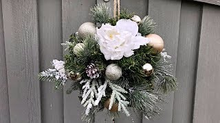 How To Make A Christmas Kissing Ball - Outdoor Christmas Decorating - Winter Wedding Decor Idea