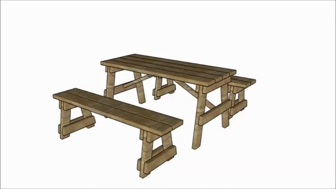 Picnic table with separate benches plans - YouTube