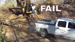FAIL..GMC DIESEL DURAMAX BURNS OUT PULLING TREE STUMP..STUCK