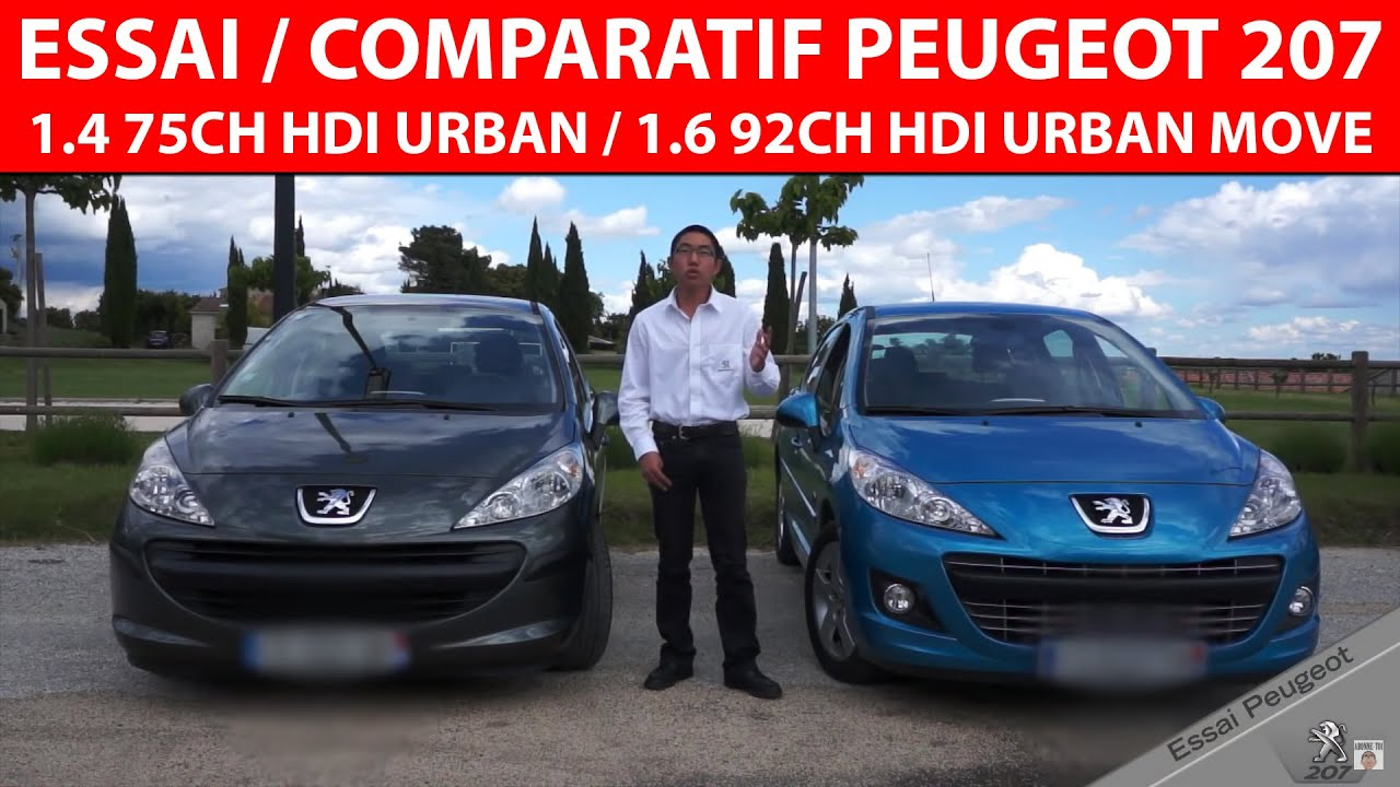 essai comparatif peugeot 207 urban 1 4 70ch et urban move 1 6 92ch youtube. Black Bedroom Furniture Sets. Home Design Ideas