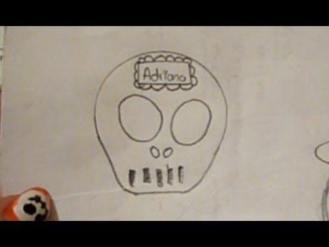 Dibuja una calavera de azcar Fcil Da de Muertos Halloween  YouTube