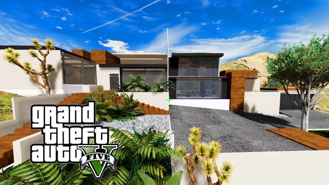 gta 5 mod costruire una villa moderna 9 giardino e