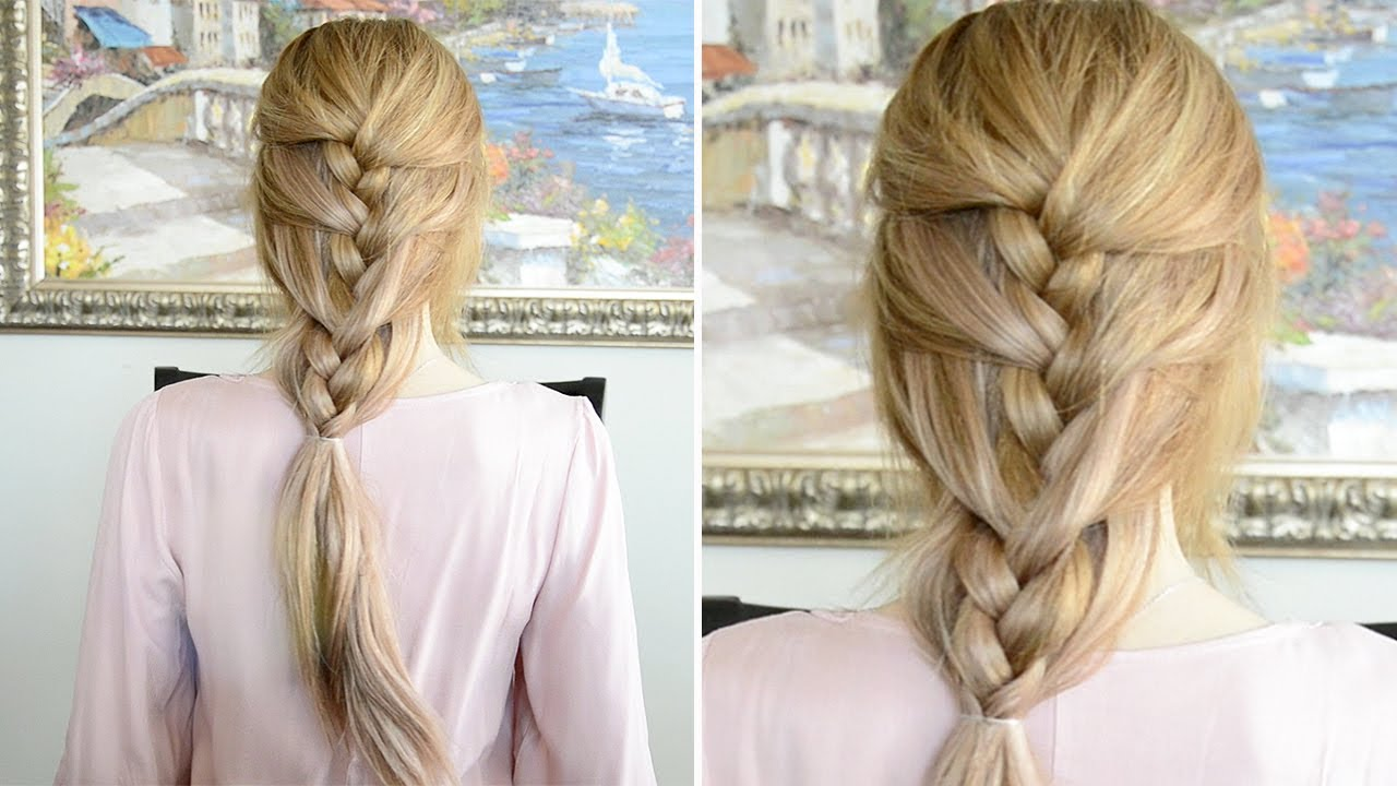 Lazy Day French Braid Hairstyle | Fancy Hair Tutorial - YouTube