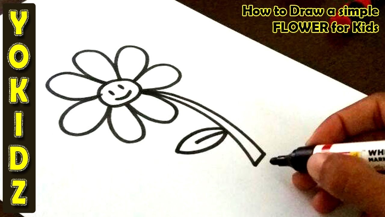 How to draw a simple FLOWER for Kids