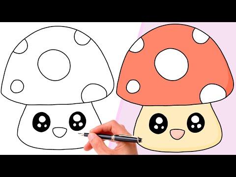 How To Draw A CUTE MUSHROOM   SUPER EASY KAWAII DRAWING