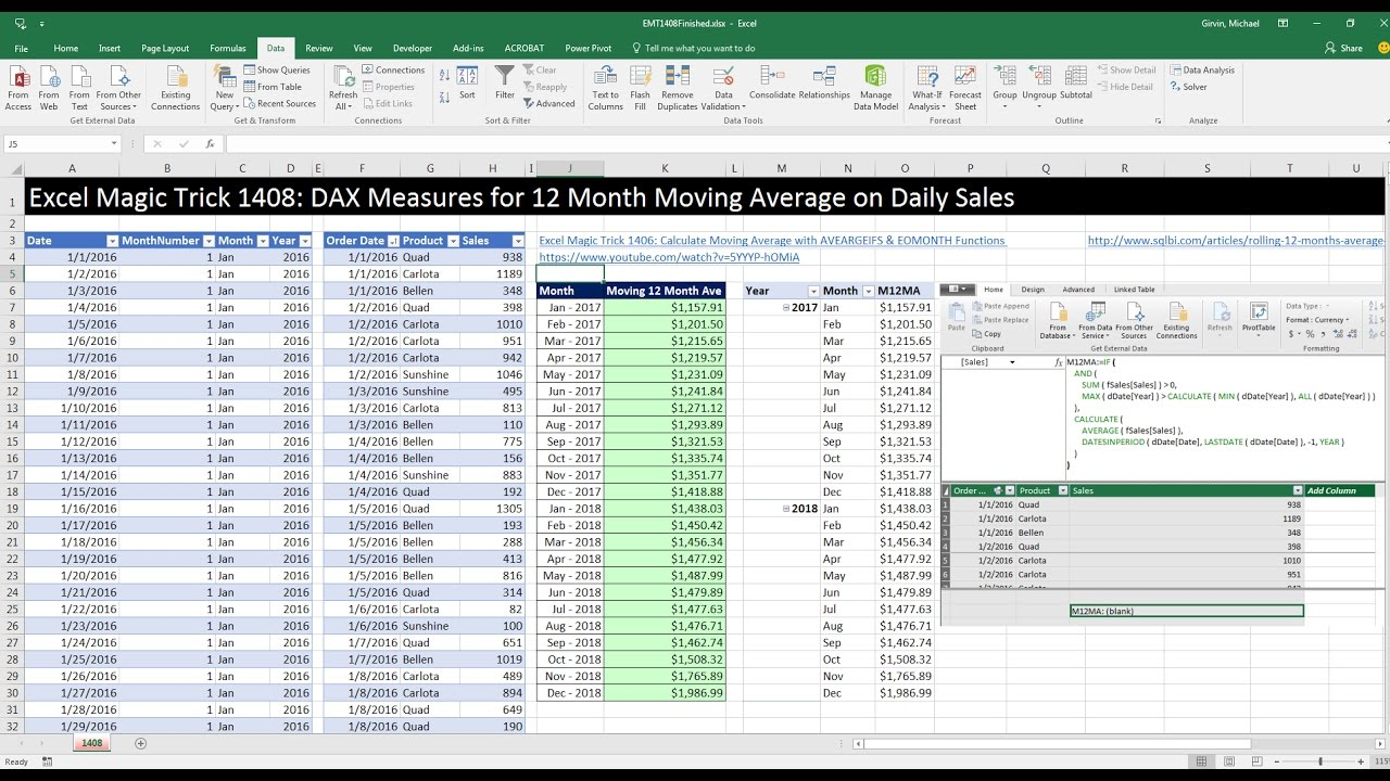 Excel Magic Trick 1408: DAX Measure: Moving 12 Month Average on Daily Sales  (DAX Formatter too)