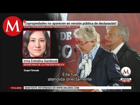 Copropiedades no aparecen en versión publica de declaracion,  Irma Eréndira Sandoval