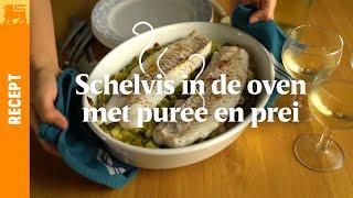 Schelvis in de oven met puree en prei