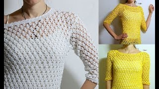 How to crochet tunic top pullover sweater free pattern for beginners