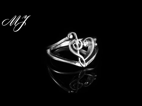 .925 Sterling Silver Treble and Bass Clef Heart Ring: Moore's Jewelers Product Showcase