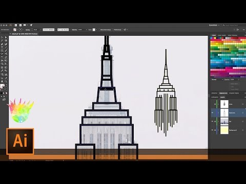 Create Empire State Building Line Art with Illustrator and t