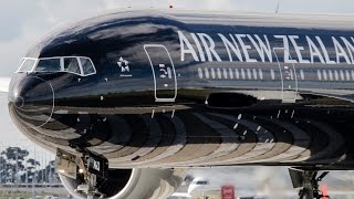 Air New Zealand Boeing 777-300ER ALL BLACK LIVERY Takeoff Melbourne Airport