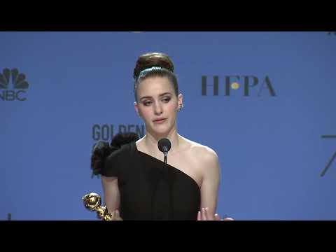 'The Marvelous Mrs Maisel' star Rachel Brosnahan  Golden Globes 2018  Full Backstage Speech