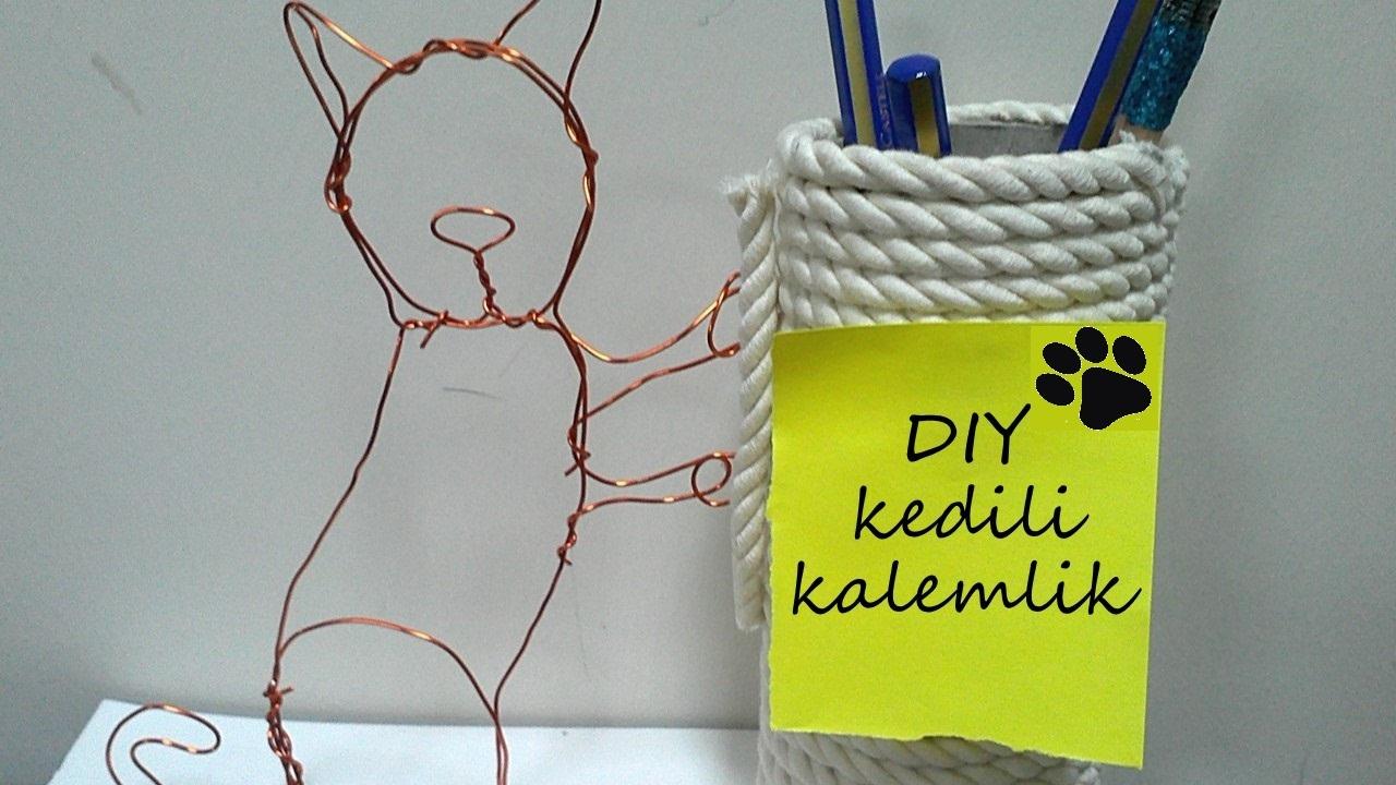 Kendin Yap : Kedili Kalemlik || DIY Cat Pencil Case ...