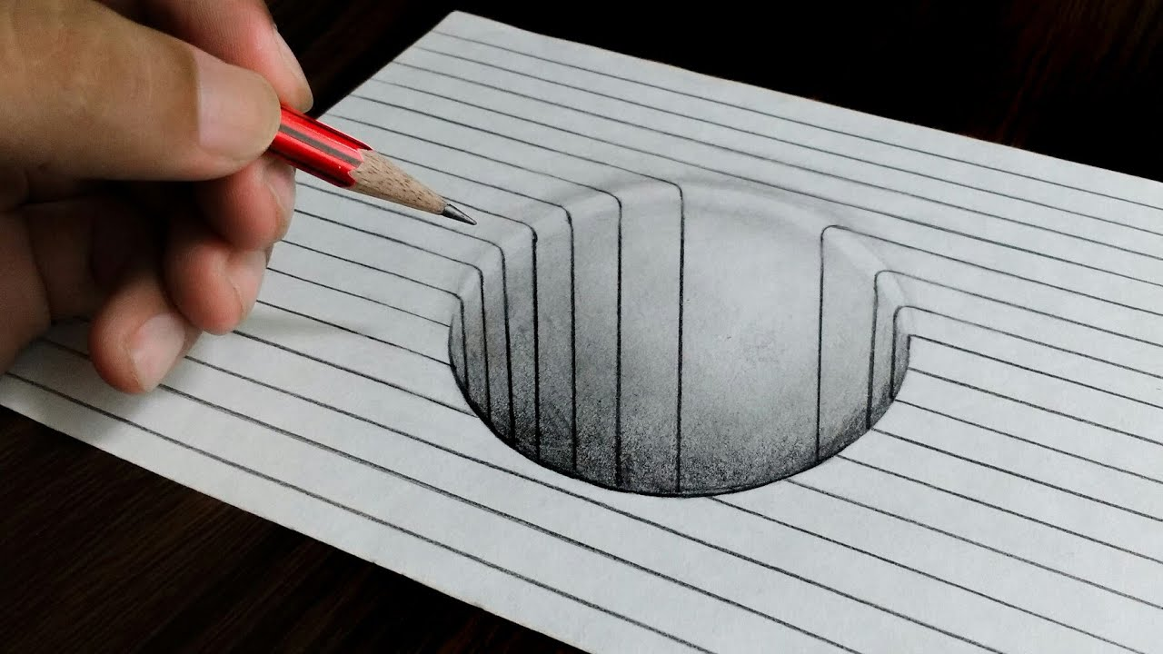 Easy 3d Line Drawings : Round hole on line paper easy d trick art drawing youtube