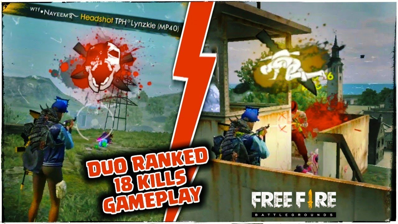 FREE FIRE RANKED DUO TOTAL 18 KILLS GAMEPLAY//GARENA FREE FIRE !!!