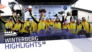Friedrich and his gold medal crew ring the bell | IBSF Official
