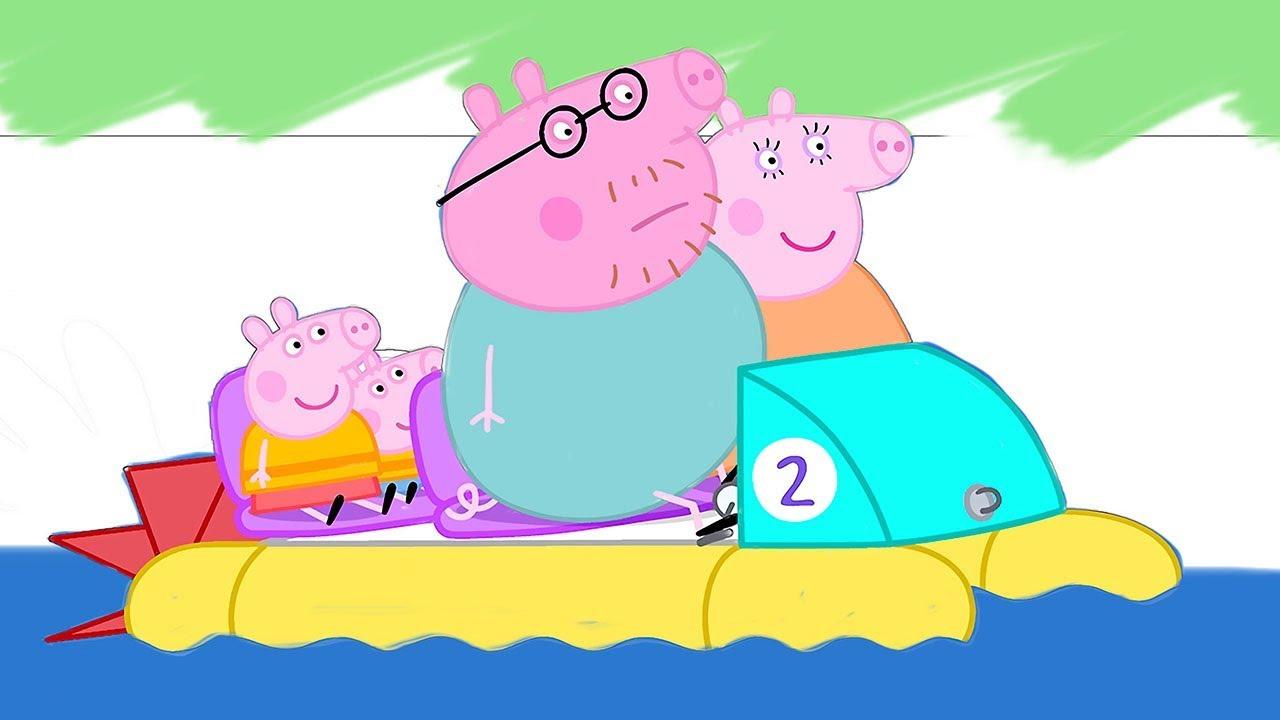 Раскрашиваем Свинка Пеппа с семьёй плавают Волшебная ...