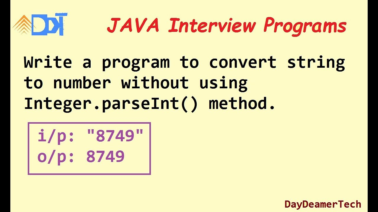 convert string into integer without using Integer.parseInt() method in java and valueOf - YouTube