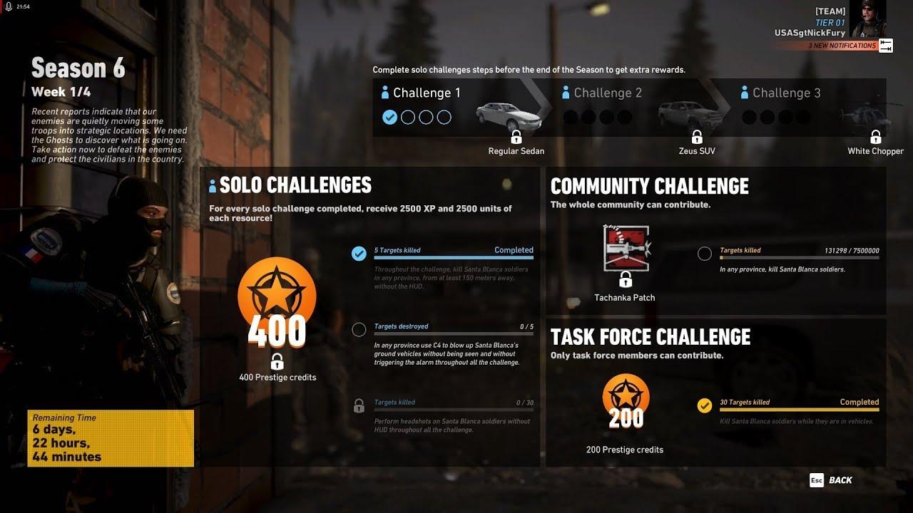 Ghost Recon Wildlands Season 6 Week 1 Solo Challenge 1 / Task Force  Challenge