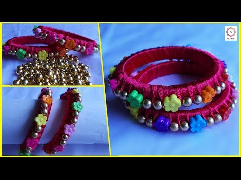 How to make Silk Threaded Designer Bangles with Flower Beads and Gold Beads at Home   Design #2
