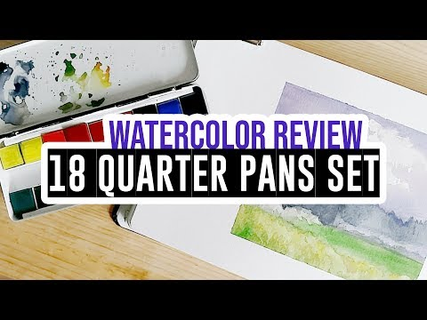 Review & demo - Daler-Rowney watercolor set of 18 ¼pans