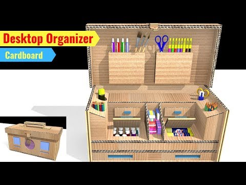 How to make Easy Desktop Organizer from cardboard || DIY school supplies drawing organizer tutorial.
